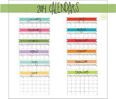 Complete 2014 Banner Calendar Set  12 by LiveCraftEatPrint on Etsy, $4.00