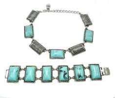 Karu Arke Necklace and Bracelet Faux Turquoise Necklace and