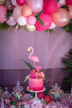 Flamingo Party - Low Res by Megann Evans Photography Pink Flamingo Party, Flamingo Baby Shower, Flamingo Cake, Flamingo Birthday, Pink Birthday, Birthday Table, 1st Birthday Parties, 21st Birthday Themes, Birthday Gifts