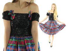 $56, Vintage 80s Party Dress Holiday Plaid Dress Ruffled Dress Black Sequined Dress 1980s Lolita Fashion Punk by ScarletFury on Etsy