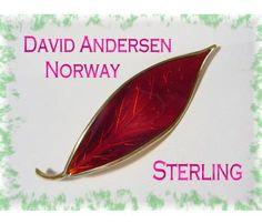 David Andersen ~ Norway Sterling Silver ~ Scandinavian Guilloche Red Enamel Leaf Brooch ~ $55  www.FindMeTreasure.com