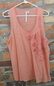 $15.95 Women's Lauren Conrad LC Peach Coral Burnout Floral Racer Back Tank Top Size: Large Free Shipping