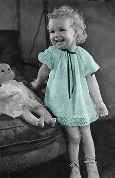 Vintage crocheted baby dress, 1950's - 1960's.