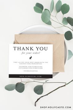 Modern Rustic Packaging Cards For Online Businesses And Etsy Shop Orders  Business Thank You Card Template