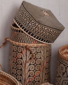 Kalimantan Lupung: Carrying or Storage Basket  Made with Natural Dyes and Bamboo. The red dye comes from a rattan berry called daemonorops Draco  Length 18cm Width 15cm Height 33 cm  A01.KL.SH.654  IDR. 995.000 or $76