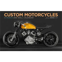 If you appreciate the beauty of the machine, the fantastic custom motorcycles featured on Bike EXIF are sure to please. The featured creations range from modern machines with fantastic lines and more carbon fiber than an F1 car to cleverly-modified vintage Japanese bikes turned into cafe racers with little more than hand-turned flat bars and paint.  $15.99  http://calendars.com/Motorcycles/Custom-Motorcycles-2013-Deluxe-Wall-Calendar/prod201300006165/?categoryId=cat00694=cat00694#