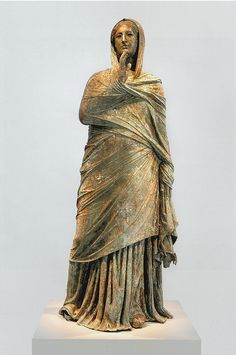 Among the ancient world's most famous bronzes there were images of gods, like the colossal Athena Promachos who guarded the Athenian Acropolis (the glint of her spear could be seen from Cape Sounion, more than fifty kilometers distant), an early work of the great Pheidias, designer and master sculptor of the Parthenon, and the still-larger statue of Apollo known as the Colossus of Rhodes. But bronze, with its warm sheen and its flexibility, lent itself above all to the portrayal of human…