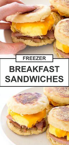 English Muffin Breakfast, English Muffin Recipes, Homemade English Muffins, Ham Breakfast, Freezer Breakfast Sandwiches, Homemade Breakfast, Breakfast Bites, Egg Mcmuffin Recipe, Sausage And Egg Mcmuffin
