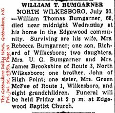Bumgarner, William T Obituary