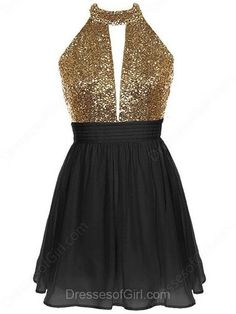 Cute A-line Halter Chiffon Sequined Short/Mini Ruffles Backless Prom Dress
