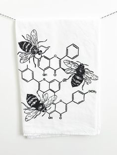 Honey Chemistry Cotton Kitchen Towel - The Coin Laundry Print Shop Chemistry Drawing, Chemistry Tattoo, Chemistry Art, Serotonin Tattoo, Honey Bee Tattoo, Tattoo Project, Bee Art, Coin Laundry, Bullet Journal Ideas Pages