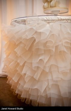 cake table decoration maybe not ruffles, but definitely tulle!!