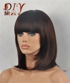 Women Lady Medium Pretty Dark Brown Straight Bangs Cosplay Party Full Hair Wig