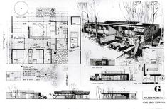 ArchitectureWeek People and Places: Ralph Rapson - Small House Competition Design Architecture Concept Drawings, Architecture Sketchbook, Architecture Panel, Architecture Magazines, Architecture Portfolio, School Architecture, Architecture Design, Architecture Presentation Board, Presentation Layout