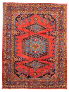 Persian Wiss x Hand-knotted Wool Red Rug Red Rugs, Persian, Bohemian Rug, Family Room, Wool, Home Decor, Red Carpets, Decoration Home, Room Decor
