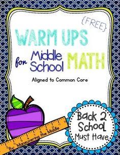 Middle School Math Warm Ups {FREEBIE}