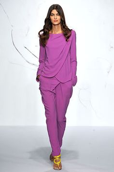 Rachel Roy Look #22: Orchid Matte Crepe Jacket/Blouse and Orchid Matte Crepe Drape Trouser  Photo from Style.com