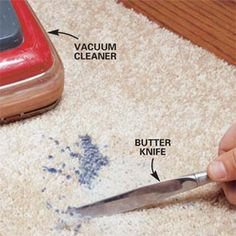 How to Remove Wax From a Carpet    Candle wax accidentally dripped on a plush carpet may look like a hopeless mess, but with a cool head, a hot iron, and a few tricks of the trade, you can make a big wax mess disappear.  By the DIY experts of The Family Handyman Magazine: February 2002        Scrap, dampen and spray