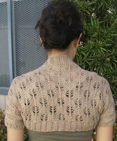 Free knitting pattern for Candle Flame Lace Knit Shrug