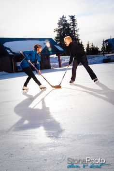 Too cute!! Hockey themed winter engagement shoot at the Grouse Mountain skating pond | StonePhoto