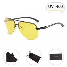 bce79f2d72 HD Night Vision Glasses for Driving Yellow Lens Aviator Anti glare  Sunglasses - Semi Rimless-yellow-black - - Women s Sunglasses