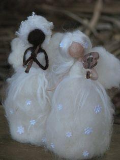 Needle felted Christmas angels by Made4uByMagic on Etsy, $38.00