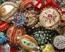 Hand-beaded Christmas ornaments from the 1960's. I love these!