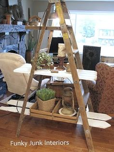 This is wonderful-use old pickets off my fence to make shelving.  I love it and when it is finished it will be rustic and shabby chic and multi purpose for the the back yard!