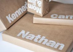 Brown paper with bold names gift wrap.