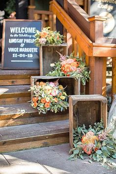 How to decorate your wedding venue entrance - for a rustic wedding flowers in crates are always a good idea. The more the better! Outdoor Wedding Flowers Inspiration for your Wedding at the Orchard at Chesfield Wedding Reception Entrance, Wedding Venues, Wedding Church, Wedding Ceremony, Reception Ideas, Theatre Wedding, Garden Wedding, Wooden Crates Wedding, Fall Wedding Decorations