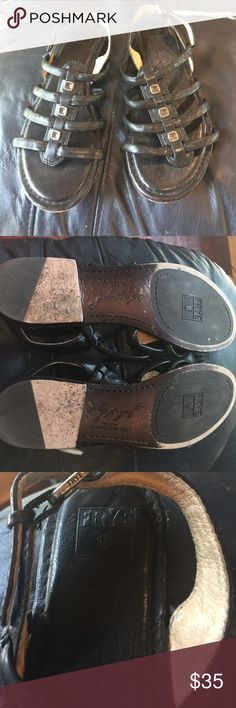 Frye Phillip Square Stud Black Leather Sandals Excellent condition Frye Shoes Sandals