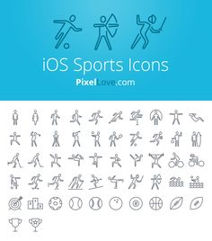 iOS 7 & iOS 8 sports icons for tab bars & tool bars. Icons include: running, soccer, swimming, yoga, karate, cycling, skiing & archery as well as many others...thousands more icons at pixellove.com