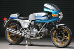 1978 blue and silver Ducati 900 Super Sports with factory-fitted Speedline magnesium wheels