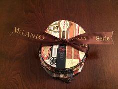 Set of 4 Custom made Cigar Band Coasters wrapped for Christmas