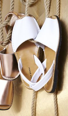 With buttery white leather strap, these Menorquina Style Sandals are perfect for summer in the city.