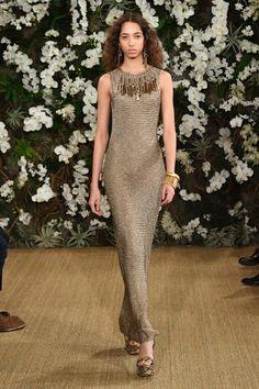Yasmin Wijnaldum walks the runway for Ralph Lauren collection during New York Fashion Week on February 15, 2017 in New York City.