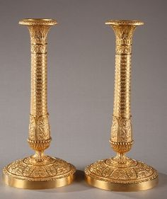 Pair of early 19th century French Charles X gilt bronze candlesticks