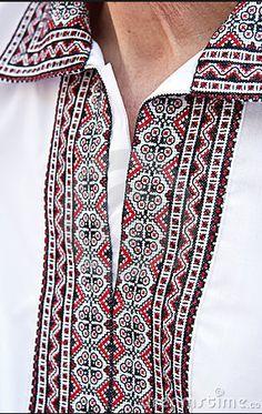 A Fragment Of Ukrainian Embroidered Shirt Stock Photo - Image of fabric, european: 18430062 Ethno Style, Kurta Designs, Cross Stitch Embroidery, Ukraine, Fashion Outfits, Fashion Ideas, Fabric, How To Wear, Shirts
