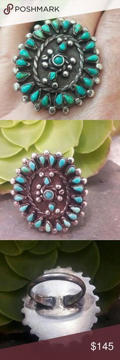 """Vintage 40's Zuni Petit point Turquoise Ring Beautiful Vintage Sterling Authentic Zuni Petit Point Turquoise Ring,  no markings tested for Sterling, 1 1/4"""" x 1 1/4"""" One stone is turned a little, it was handmade and set that way. Vintage Jewelry Rings"""