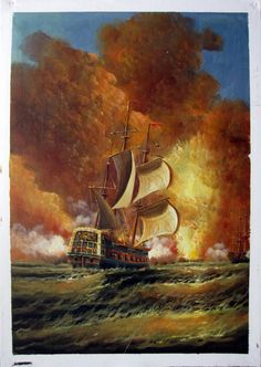 """24"""" by 36"""" - Tall Ships at war - Nr.31 - Museum Quality Oil Painting on Canvas Art by Artseasy on Etsy"""