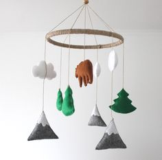 Felt Mountains Pine Trees Scandinavian Clouds Bear Baby Mobile, Baby Crib Mobile, Felt Mountains and Tree, Cloud Cot Mobile, woodland Cot Mobile, Baby Crib Mobile, Mobile Kids, Mobiles For Kids, Pine Tree, Wool Felt, Nursery, Clouds