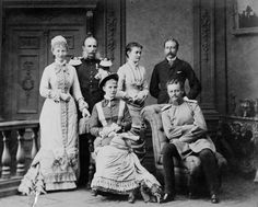 Three Prussian sisters and their husbands, standing from left: Princess Marie and husband Prince Hendrik of the Netherlands; Princess Luise Margaret and husband Prince Arthur, Duke of Connaught. Seated: Princess Elisabeth and husband Prince Friedrich August, Hereditary Grand Duke of Oldenburg