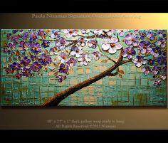 Modern Abstract 48 x 24 Oil Painting Modern Palette Knife Oil Cherry Blossom Tree Impasto Landscape by Paula Nizamas via Etsy