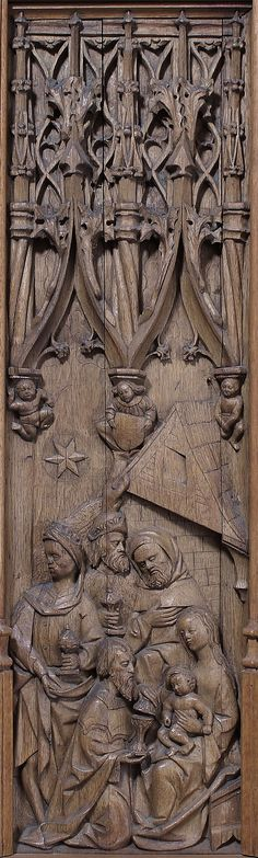Panel with the Adoration of the Magi; oak, Normandy, France, early 16th c.