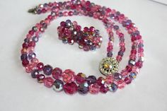 Hey, I found this really awesome Etsy listing at https://www.etsy.com/listing/199348115/pink-purple-crystal-necklace-earring-set