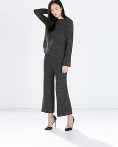 Zara Sweater with Rounded Hem and Wide Hem Trousers