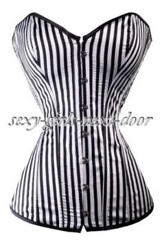 Sexy Boned Overbust Waist Training Lace Up Bustier Top Corset Shapewear Shaper. Ladies Sexy Boned Lace Up Waist training Overbust Corset Bustier Top Lingerie Ladies Elegant Grey Plum Printed Corset Bustier Party Overbust outfit Boned Corsets, Overbust Corset, Beetlejuice, Jolie Lingerie, Classy Lingerie, Bustiers, Trends, Black White Stripes, Black Ruffle