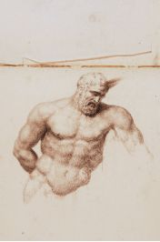 """""""Figure of a Man Torso"""" pencil Drawing by Francesco Gonin,  Born in Torino 1808,  died in Giaveno 1889,  Italy  book of 32 pages of drawings size 29x21.5 mm $ 1,900 for the book 32 pages of drawings $ 60.00 each drawing"""