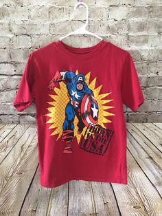 Marvel Comics Boys Captain America T-Shirt XL 14 Born In The USA 4th Of July  | eBay