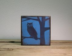 Owl in Tree Silhouette Wood Block Wall by MatchBlox on Etsy, $29.00